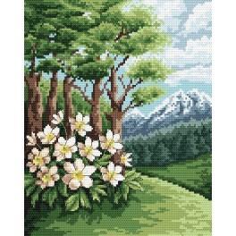 Online pattern - Landscape with anemones