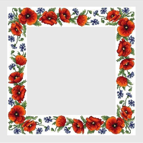 Cross Stitch Pattern Pdf Tablecloth With Wild Flowers Coricamo