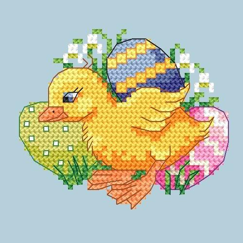 W 4919 Online pattern - Duck with snowdrop