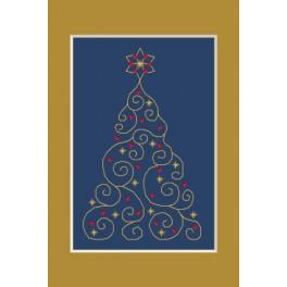 W 4948-01 Online pattern - Christmas card - Christmas tree with stars