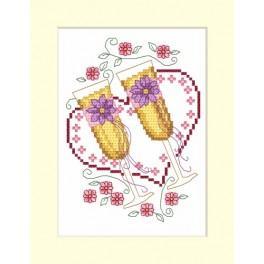 W 4953-02 ONLINE pattern pdf - Wedding card - Glasses