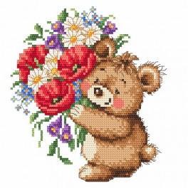 Online pattern - Teddy bear with bouquet