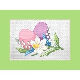 W 8625-01 ONLINE pattern pdf - Easter card - Colorful Easter eggs