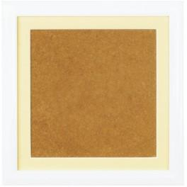Wooden frame - white colour - ecru passe-partout (19x19cm)