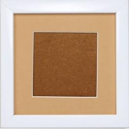 Wooden frame - white colour - sand passe-partout (13,2x13,2cm)