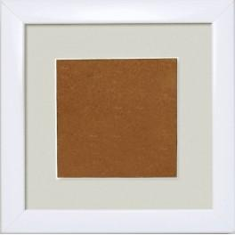 Wooden frame - white colour - gray passe-partout (13,2x13,2cm)