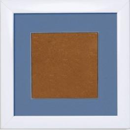 Wooden frame - white colour - blue passpartout (13,2x13,2cm)