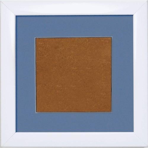 S 157005-1313-195 Wooden frame - white colour - blue passpartout (13,2x13,2cm)
