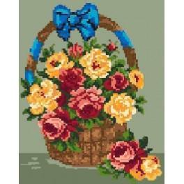 A basket of roses - Cross Stitch pattern