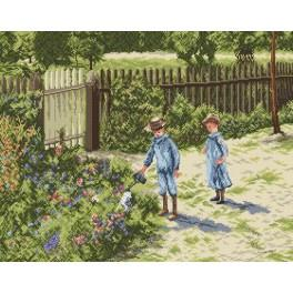 Children in a garden - Cross Stitch pattern