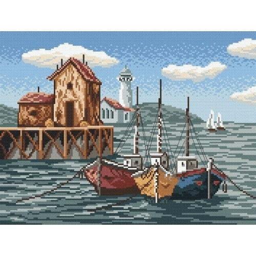 Fishing boats in the bay - Cross Stitch pattern