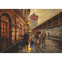 Krakow in the rain - Cross Stitch pattern