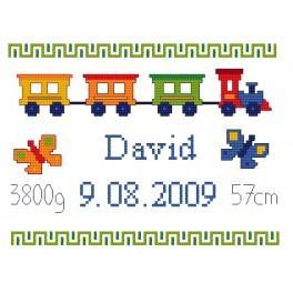 GC 4427 Cross stitch pattern - My birthday - Colorful train