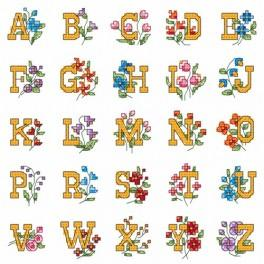 Alphabet with flowers - Cross Stitch pattern