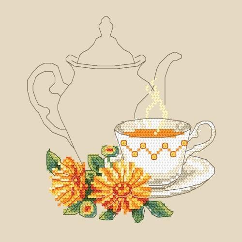 Tea with calendula - Cross Stitch pattern