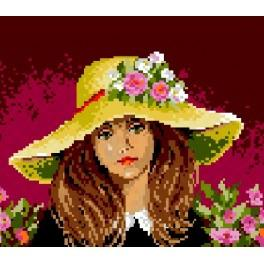 GC 572 Cross stitch pattern - Girl wearing a hat