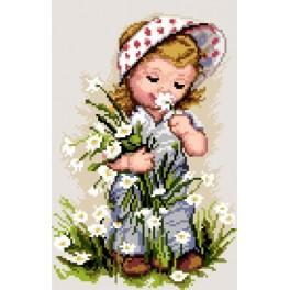 Girl with flowers - Cross Stitch pattern