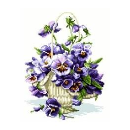 Pansies in the basket - Cross Stitch pattern