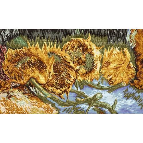 GC 8006 Cross stitch pattern - Four cut sunflowers - V. Van Gogh