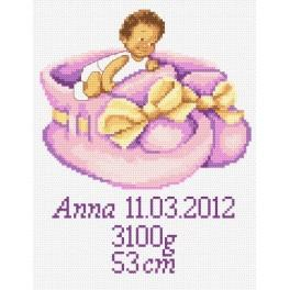 GC 8247 Cross stitch pattern - Birth certificate for girl