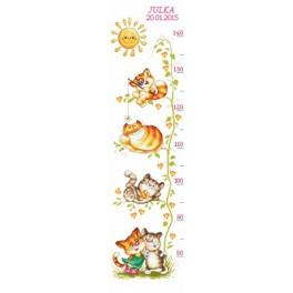 Wall meter with kittens - Cross Stitch pattern