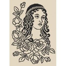 Lady with roses - Cross Stitch pattern