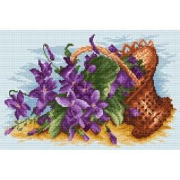 Violets in the basket - Cross Stitch pattern