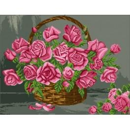 A basket of roses - Cross Stitch pattern