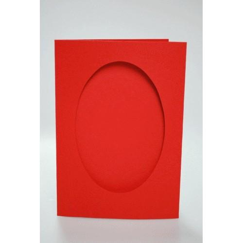 Big card with an oval passe-partout red