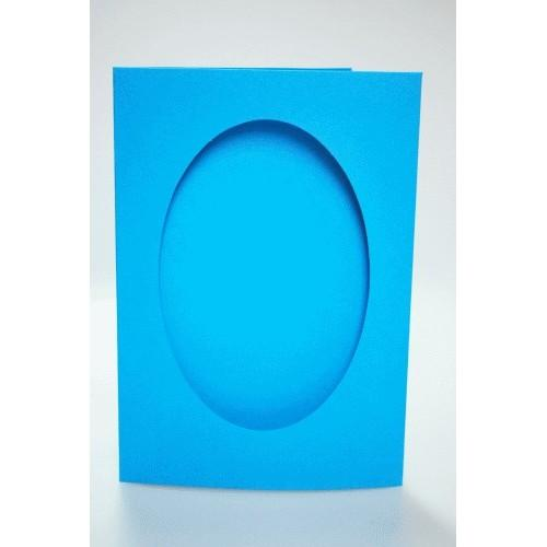 Big card with an oval passe-partout blue