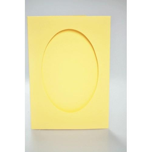 Big card with an oval passe-partout yellow