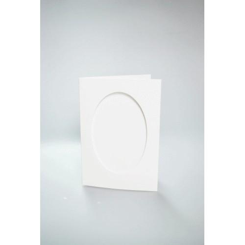 Cards with an oval passe-partout white
