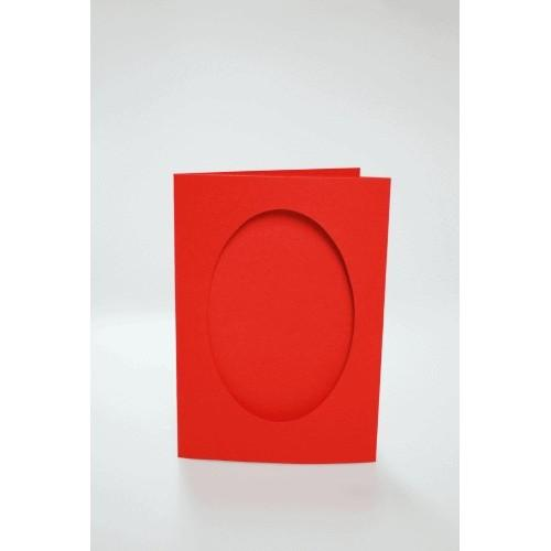 943-04 Cards with an oval passe-partout red