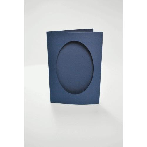 Cards with an oval passe-partout navy blue