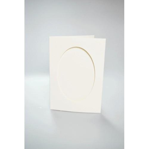 943-08 Cards with an oval passe-partout cream