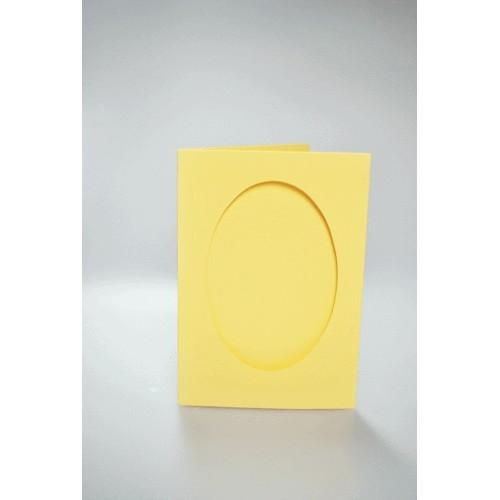 Cards with an oval passe-partout yellow