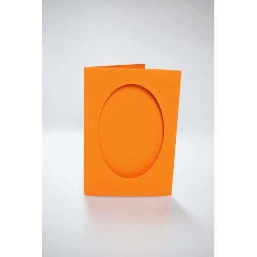 943-10 Cards with an oval passe-partout orange