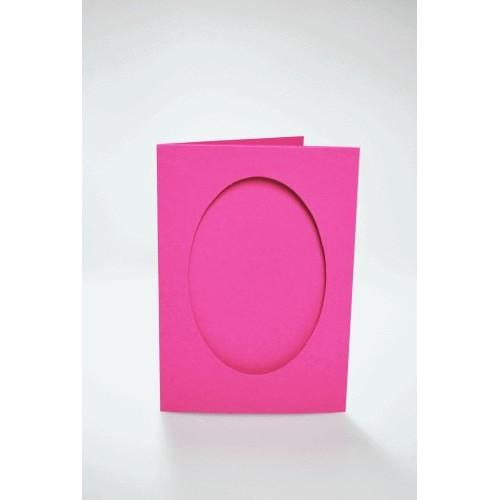 943-11 Cards with an oval passe-partout pink