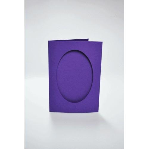 Cards with an oval passe-partout purple