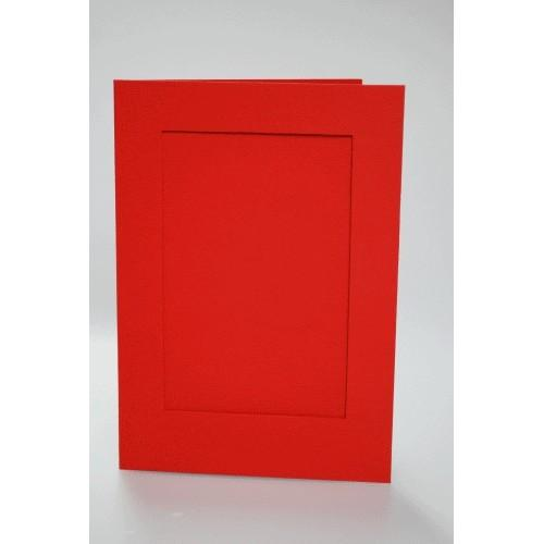 Big card with a rectangular passe-partout red