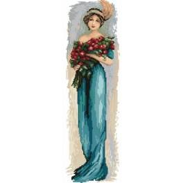 4545 Woman with flowers - Tapestry canvas