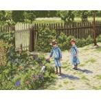 Children in a garden - Tapestry aida