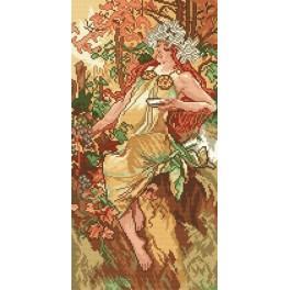 Autumn - A. Mucha - Tapestry aida