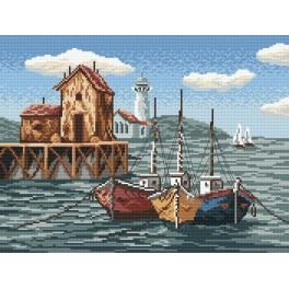 Fishing boats in the bay - Tapestry aida