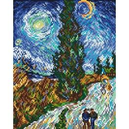 Road with Cypress and Star - V. van Gogh - Tapestry aida