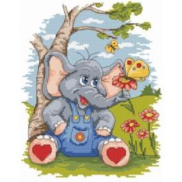 An elephant with butterfly - Tapestry aida