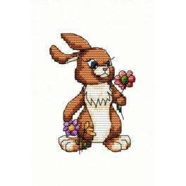 Bunny with flower - Tapestry aida