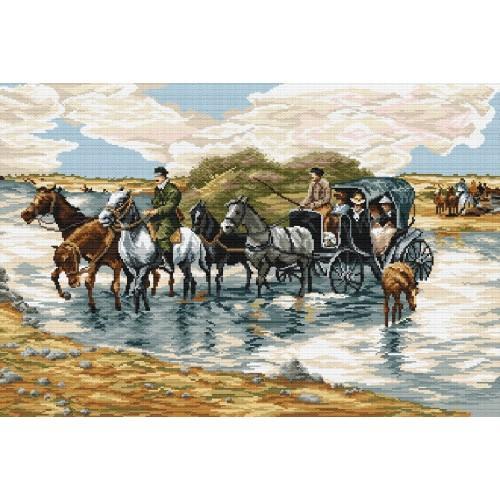 A Wierusz Kowalski Passing The River Tapestry Aida
