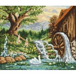 Landscape with a windmill - Tapestry aida