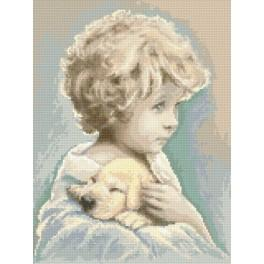 Boy with a puppy - Tapestry aida